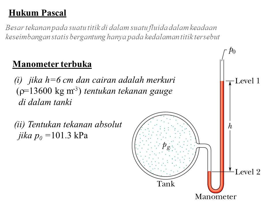 jika h=6 cm dan cairan adalah merkuri