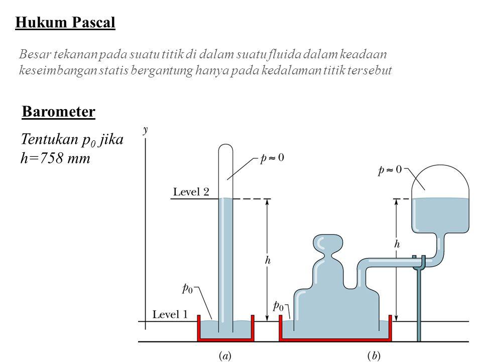 Hukum Pascal Barometer Tentukan p0 jika h=758 mm