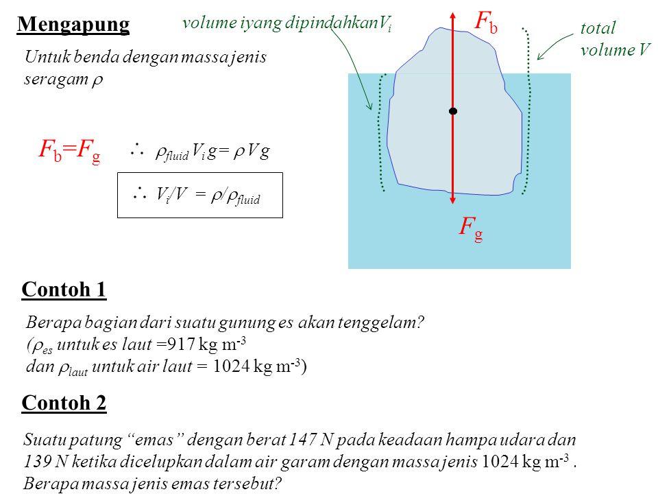 Fb Fb=Fg Fg Mengapung Contoh 1 Contoh 2 volume iyang dipindahkanVi