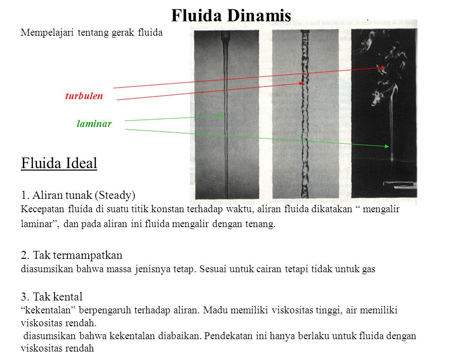 Fluida Dinamis Fluida Ideal 1. Aliran tunak (Steady)