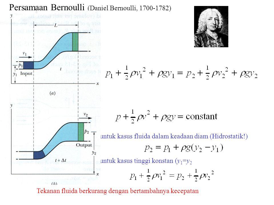Persamaan Bernoulli (Daniel Bernoulli, 1700-1782)