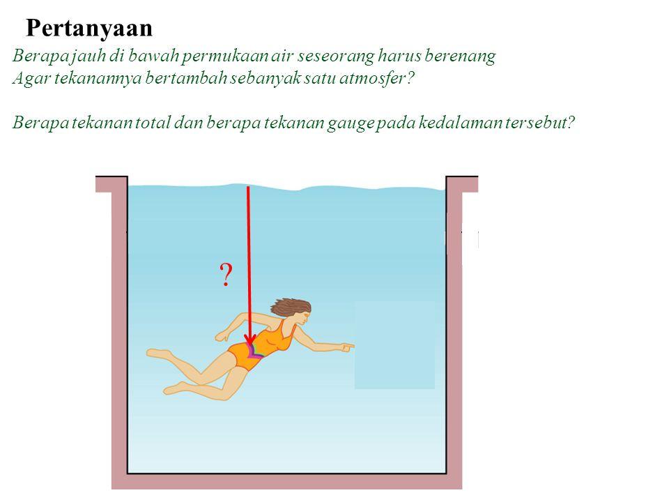 Pertanyaan Berapa jauh di bawah permukaan air seseorang harus berenang. Agar tekanannya bertambah sebanyak satu atmosfer