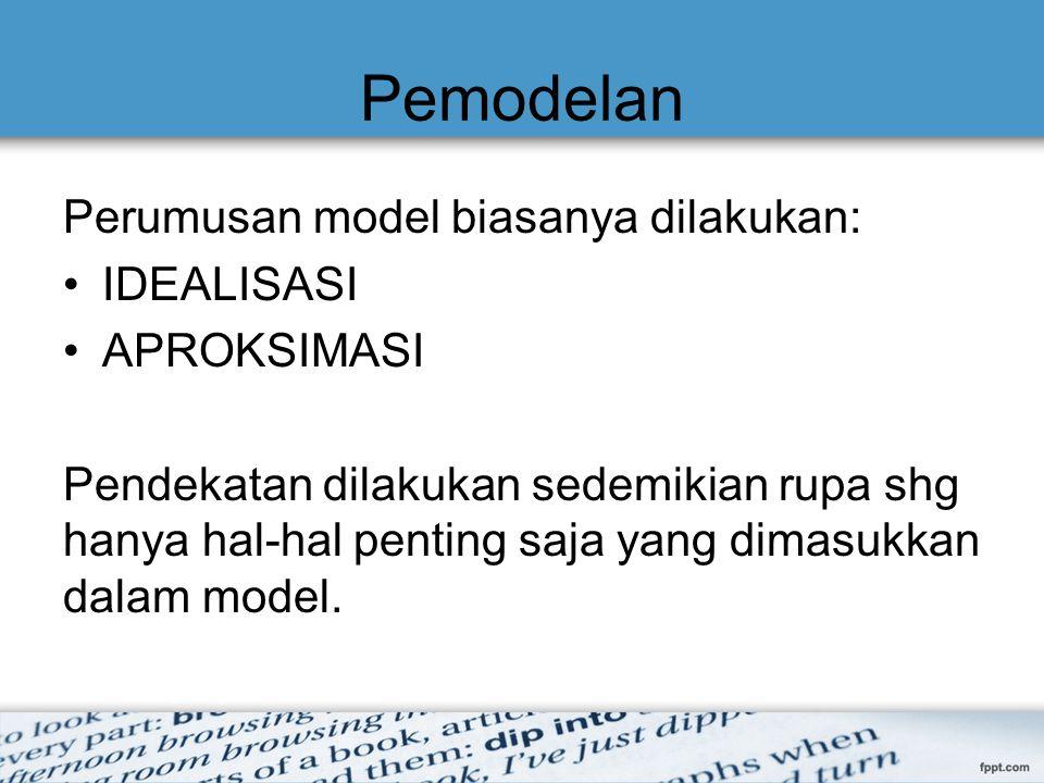 Pemodelan Perumusan model biasanya dilakukan: IDEALISASI APROKSIMASI