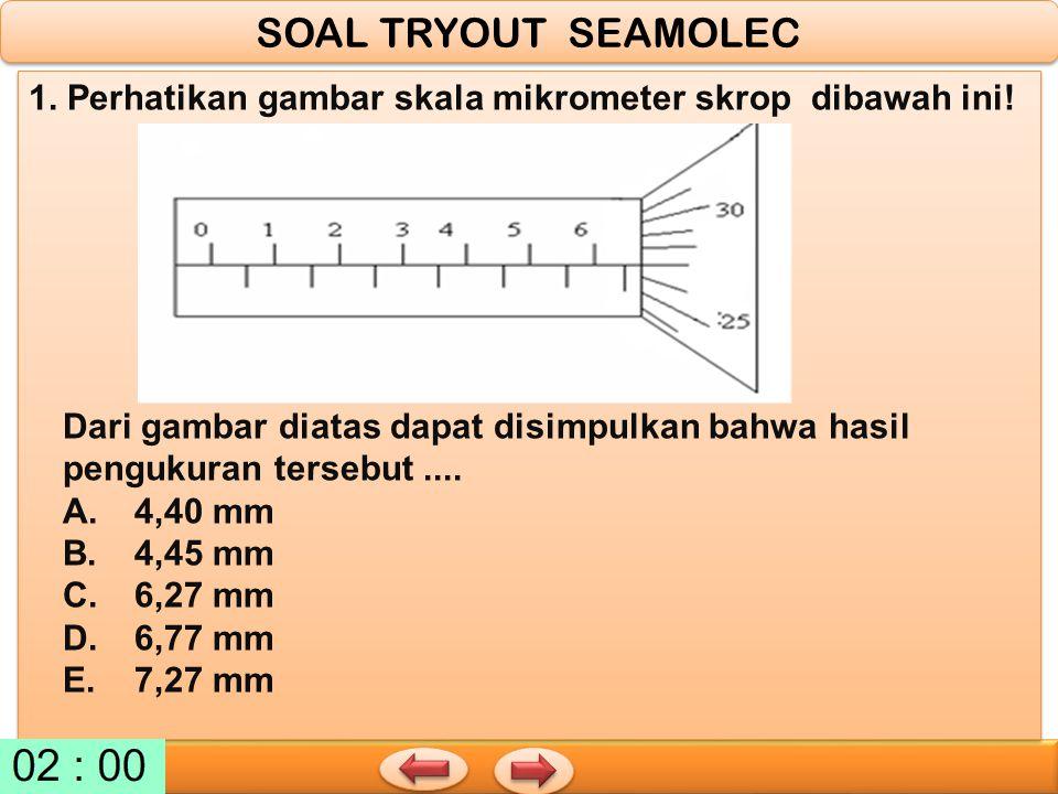 SOAL TRYOUT SEAMOLEC 1. Perhatikan gambar skala mikrometer skrop dibawah ini!