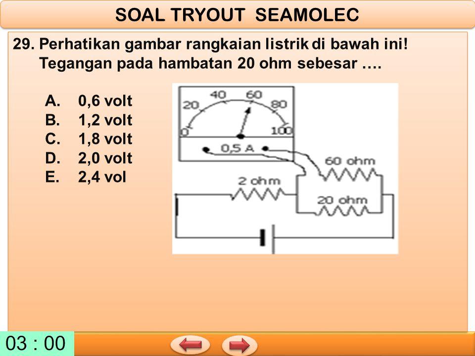 SOAL TRYOUT SEAMOLEC 29. Perhatikan gambar rangkaian listrik di bawah ini! Tegangan pada hambatan 20 ohm sebesar ….