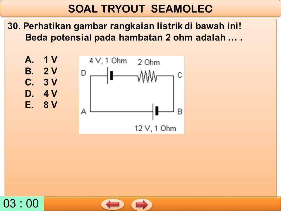 SOAL TRYOUT SEAMOLEC 30. Perhatikan gambar rangkaian listrik di bawah ini! Beda potensial pada hambatan 2 ohm adalah … .