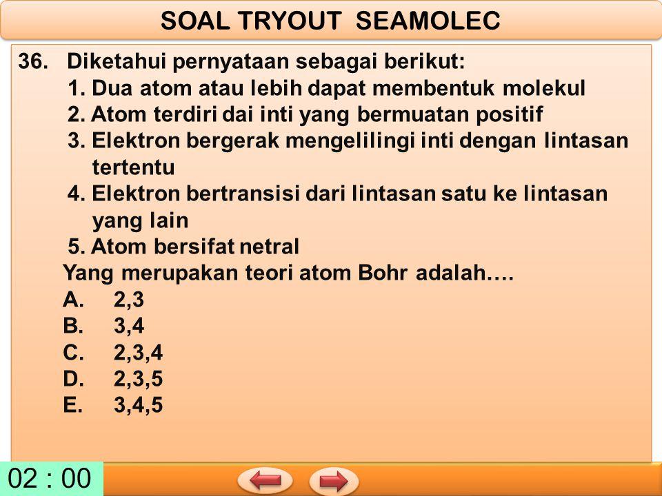 SOAL TRYOUT SEAMOLEC 36. Diketahui pernyataan sebagai berikut: