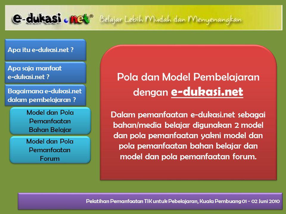 Pola dan Model Pembelajaran dengan e-dukasi.net