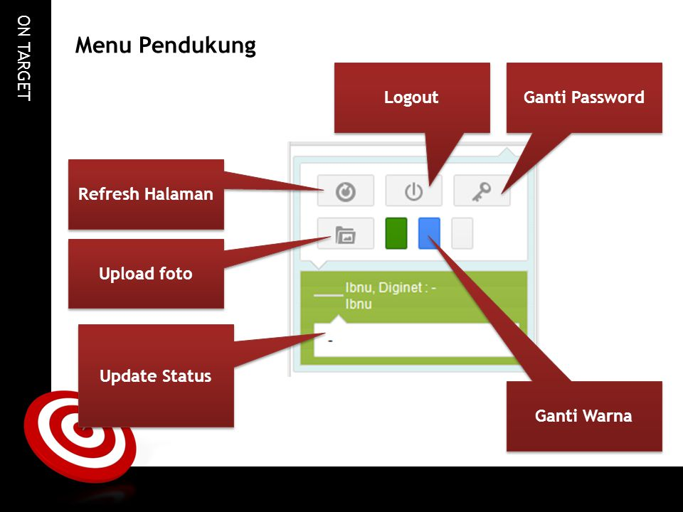 Menu Pendukung Logout Ganti Password Refresh Halaman Upload foto