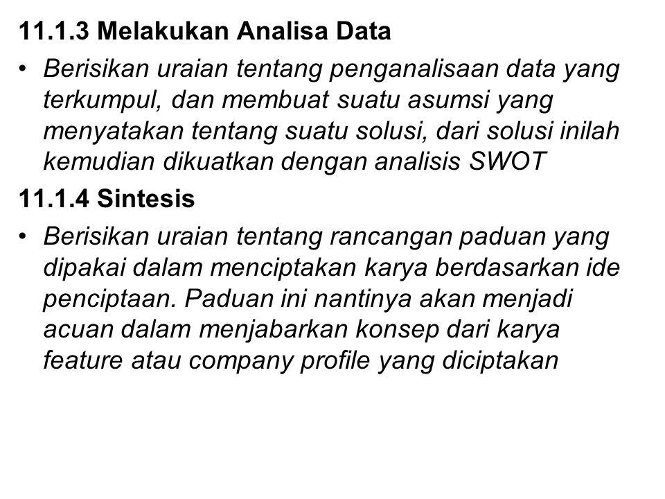 11.1.3 Melakukan Analisa Data