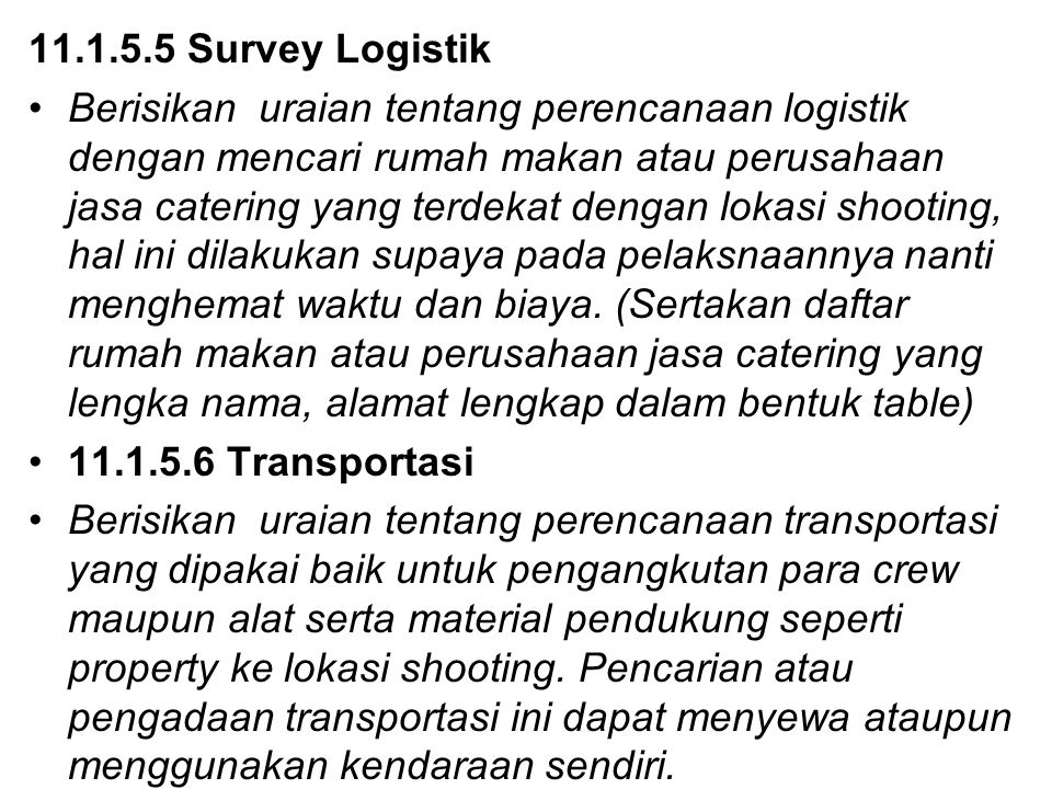 11.1.5.5 Survey Logistik