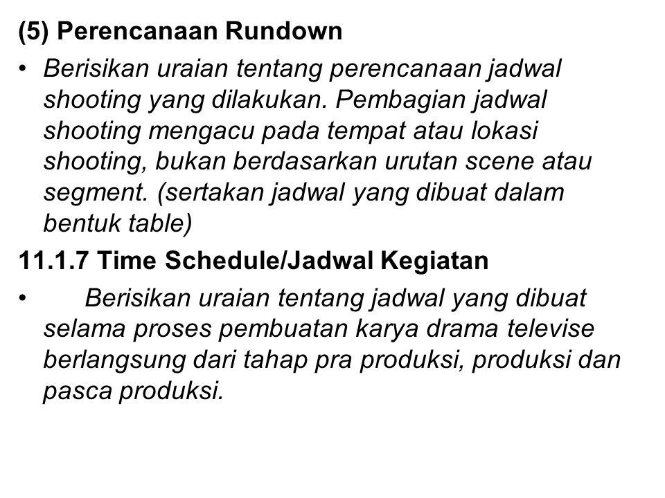 (5) Perencanaan Rundown