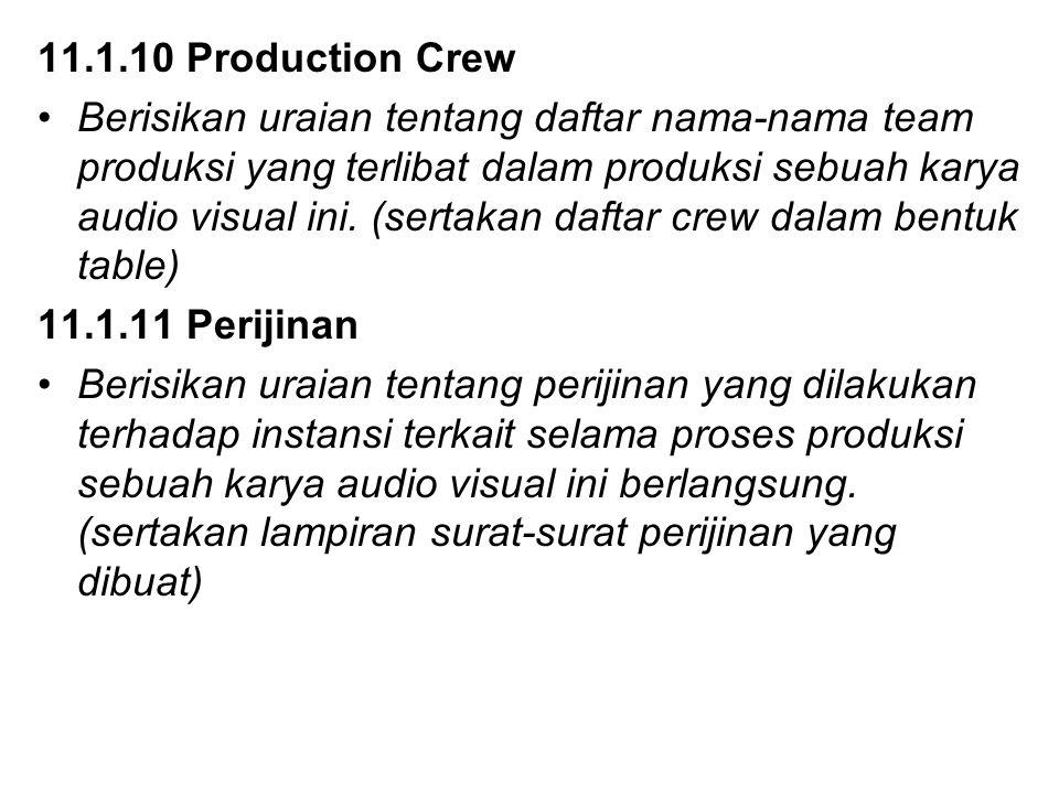 11.1.10 Production Crew