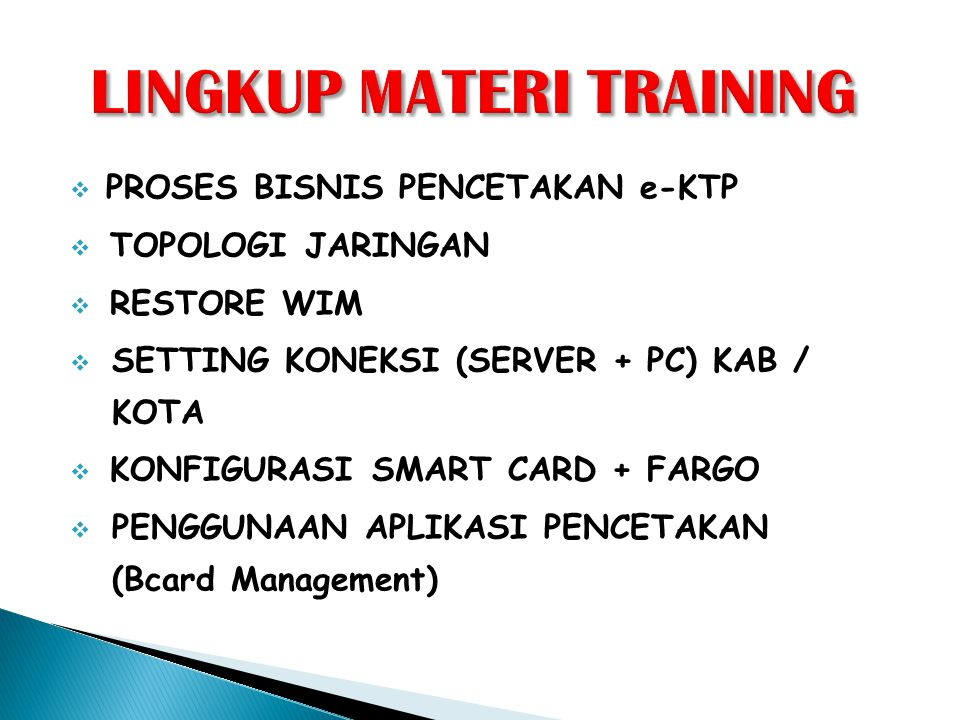 LINGKUP MATERI TRAINING