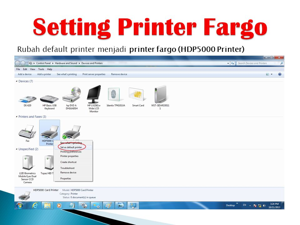 Setting Printer Fargo Rubah default printer menjadi printer fargo (HDP5000 Printer)