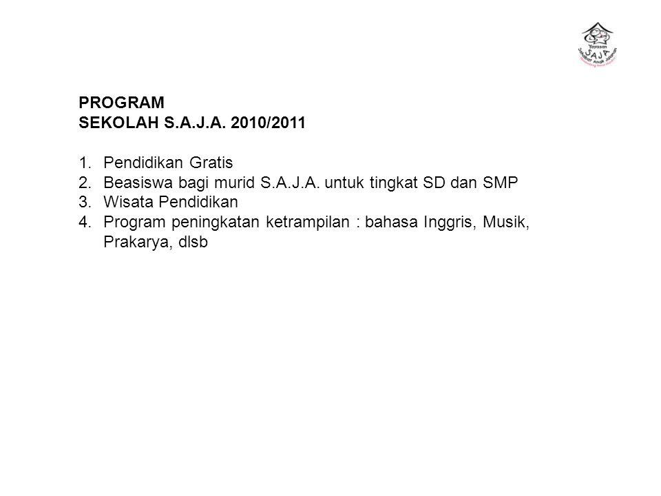 PROGRAM SEKOLAH S.A.J.A. 2010/2011. 1. Pendidikan Gratis. Beasiswa bagi murid S.A.J.A. untuk tingkat SD dan SMP.