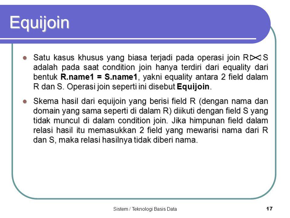 Sistem / Teknologi Basis Data