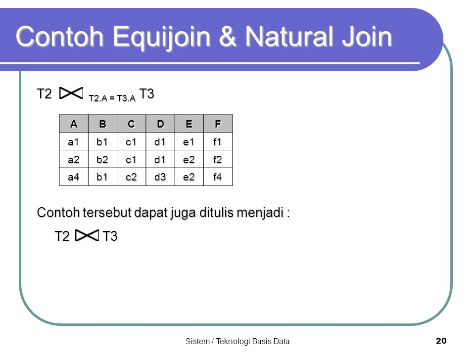 Contoh Equijoin & Natural Join