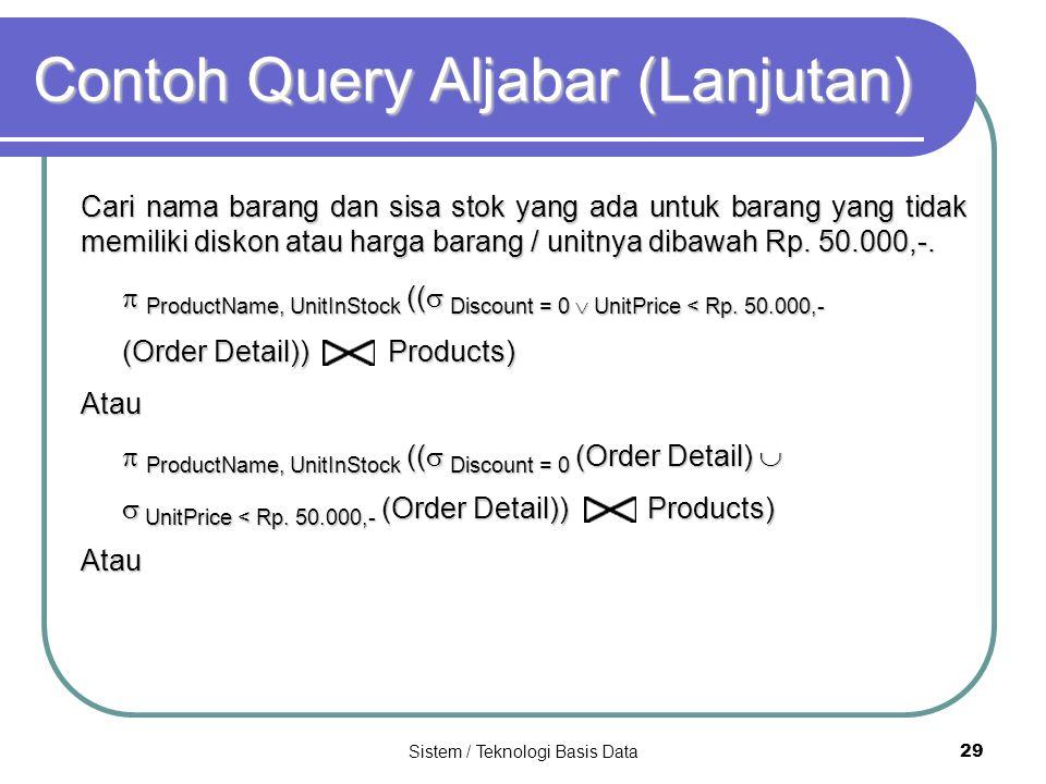 Contoh Query Aljabar (Lanjutan)