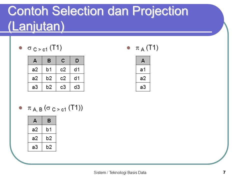 Contoh Selection dan Projection (Lanjutan)