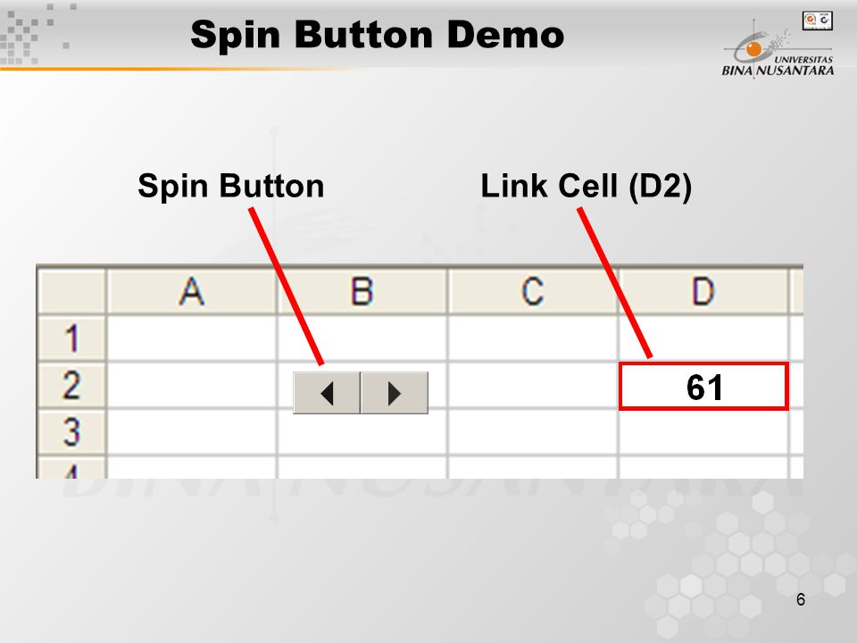 Spin Button Demo Spin Button Link Cell (D2)