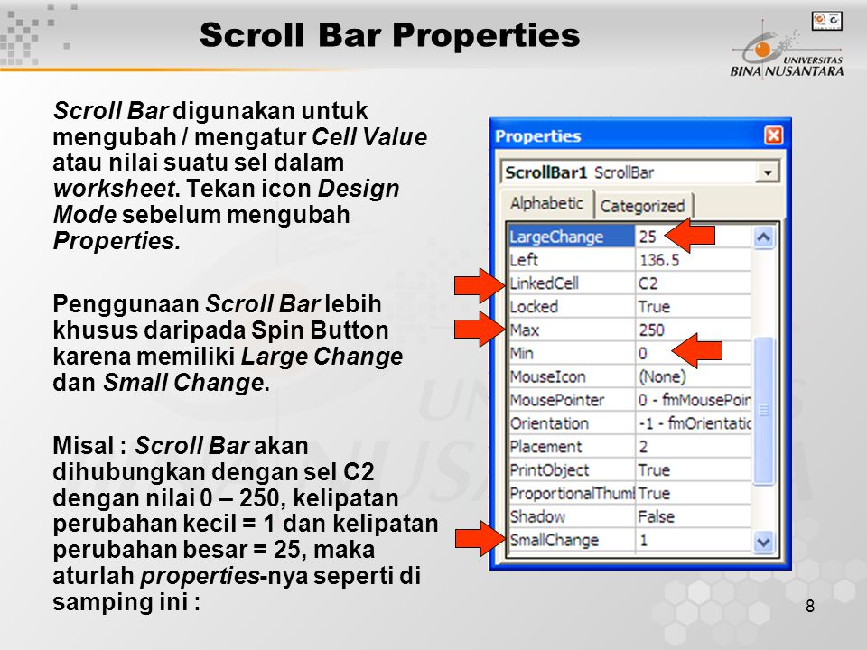 Scroll Bar Properties