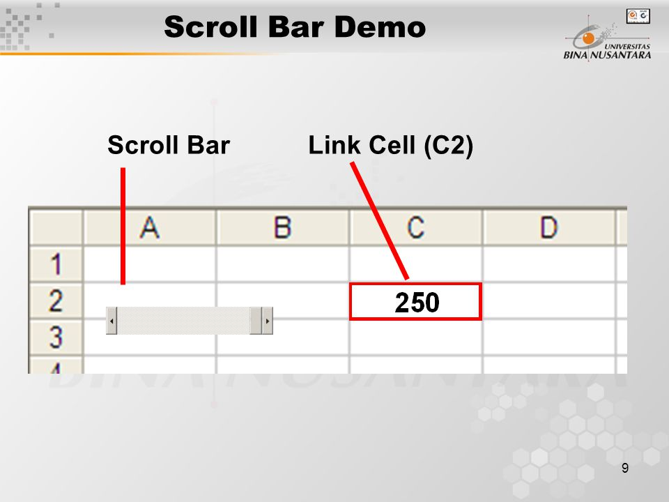 Scroll Bar Demo Scroll Bar Link Cell (C2)