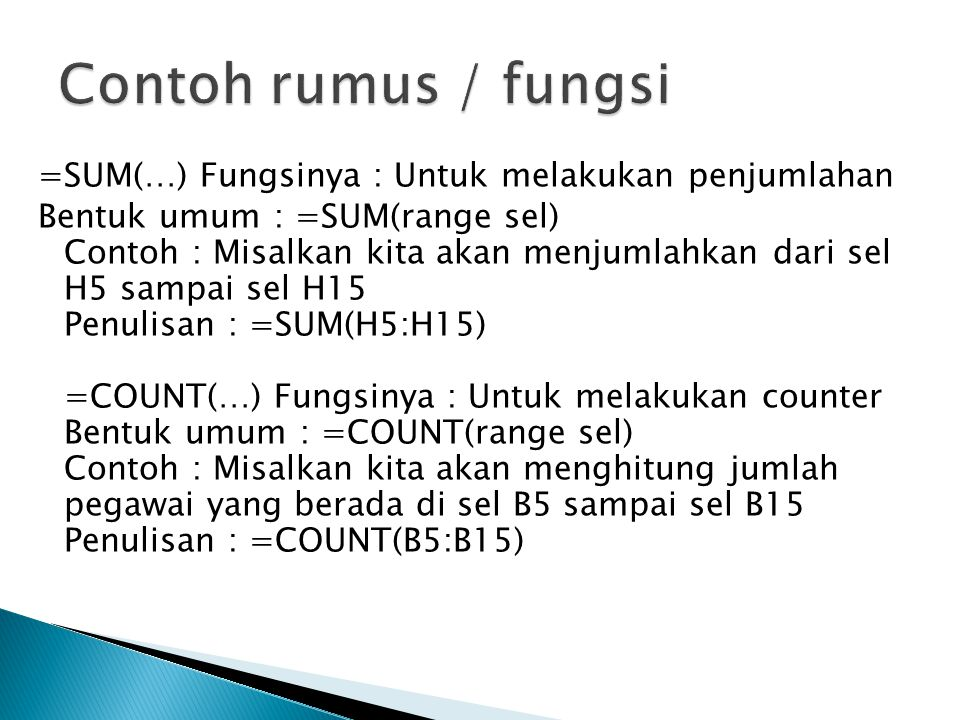 Contoh rumus / fungsi
