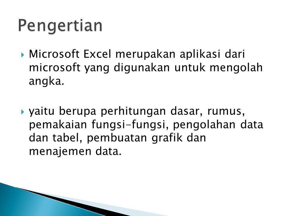Pengertian Microsoft Excel merupakan aplikasi dari microsoft yang digunakan untuk mengolah angka.