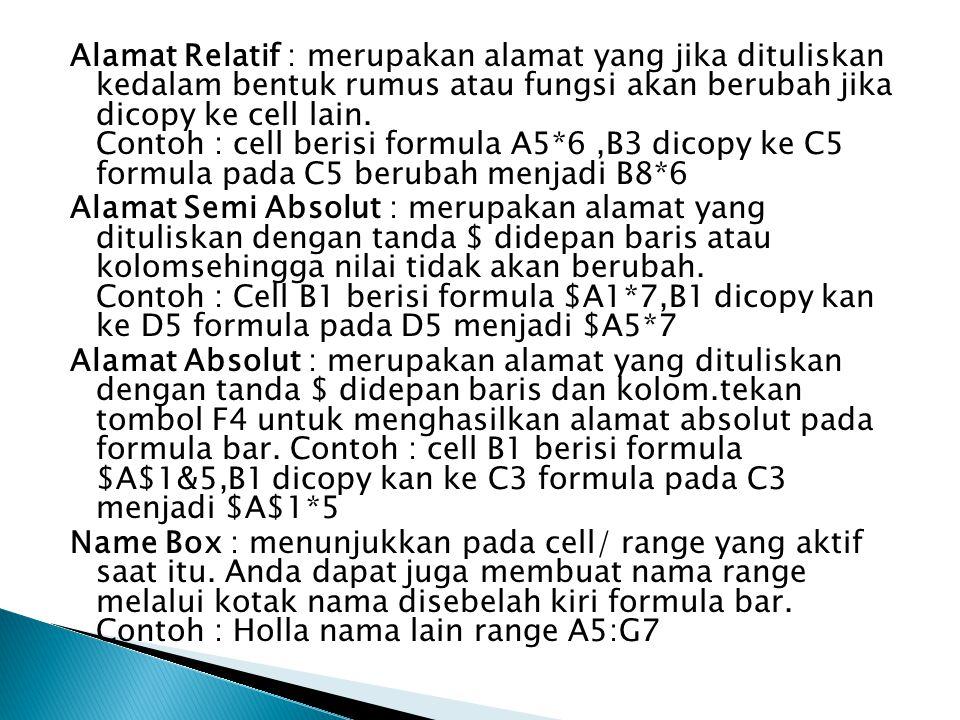 Alamat Relatif : merupakan alamat yang jika dituliskan kedalam bentuk rumus atau fungsi akan berubah jika dicopy ke cell lain. Contoh : cell berisi formula A5*6 ,B3 dicopy ke C5 formula pada C5 berubah menjadi B8*6