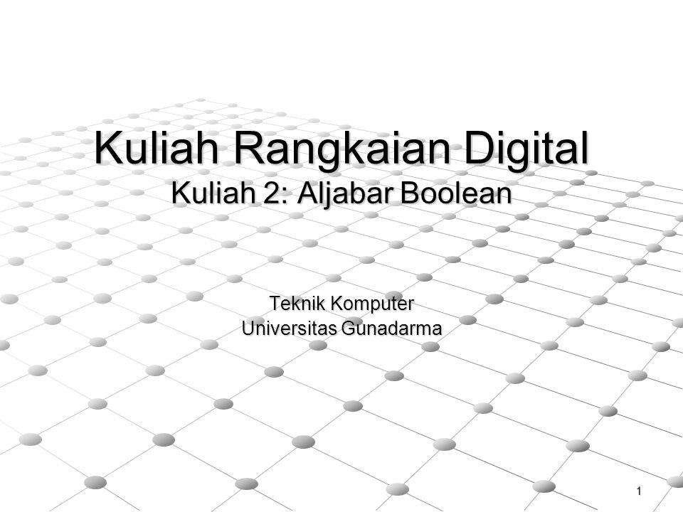 Kuliah Rangkaian Digital Kuliah 2: Aljabar Boolean