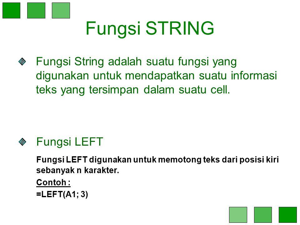 Fungsi STRING Fungsi String adalah suatu fungsi yang digunakan untuk mendapatkan suatu informasi teks yang tersimpan dalam suatu cell.
