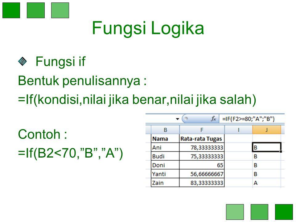 Fungsi Logika Fungsi if Bentuk penulisannya :