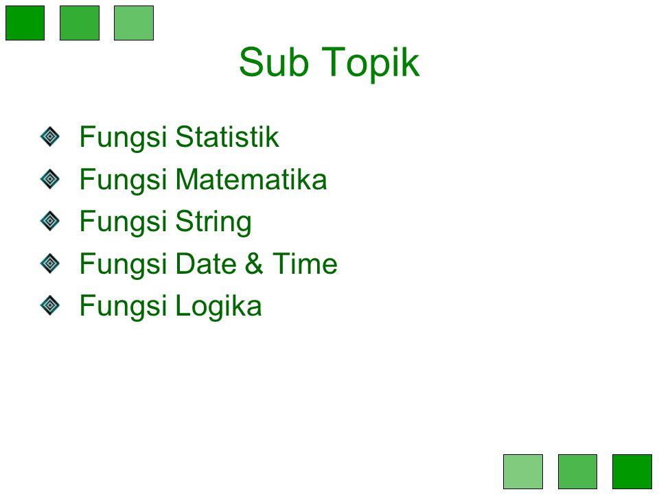 Sub Topik Fungsi Statistik Fungsi Matematika Fungsi String