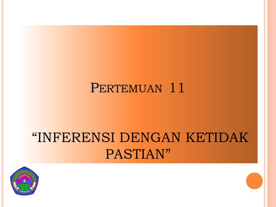 Pertemuan 11 INFERENSI DENGAN KETIDAK PASTIAN
