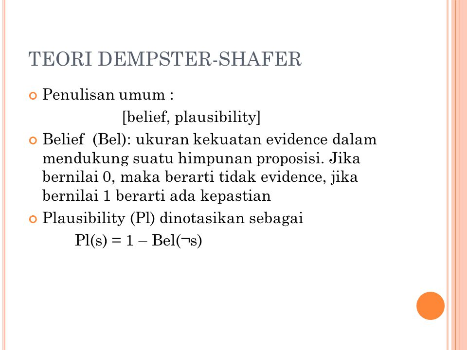 TEORI DEMPSTER-SHAFER