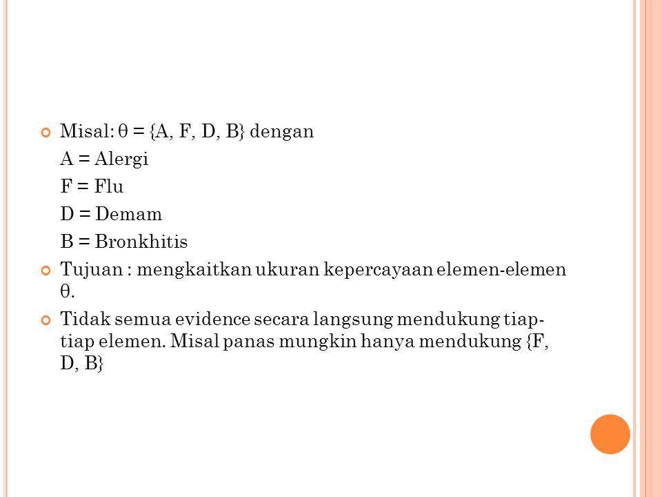 Misal: θ = {A, F, D, B} dengan