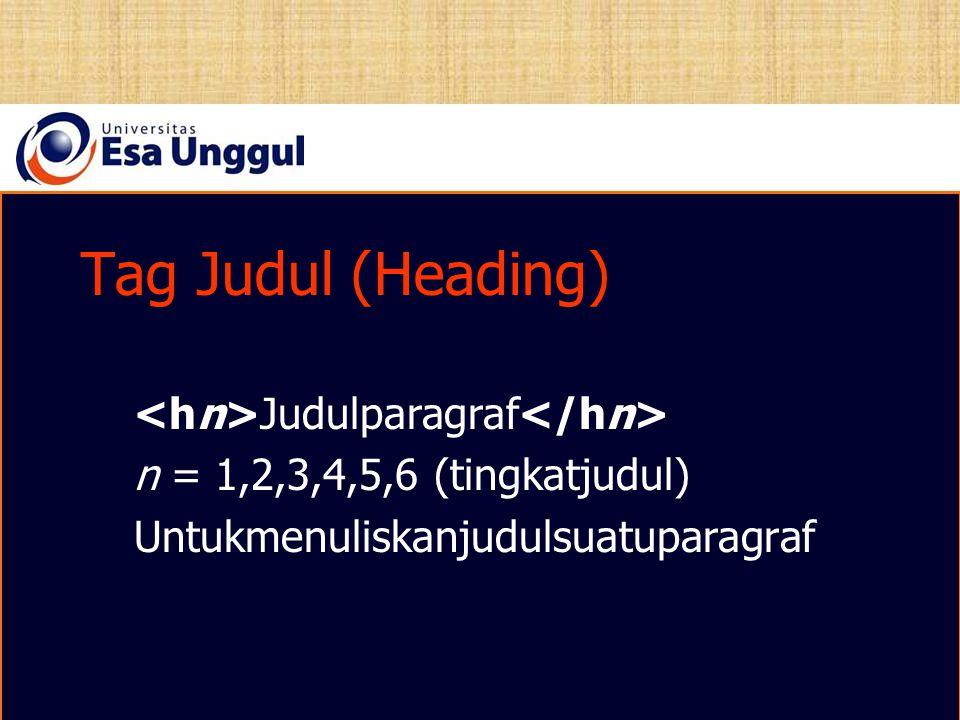 Tag Judul (Heading) <hn>Judulparagraf</hn>