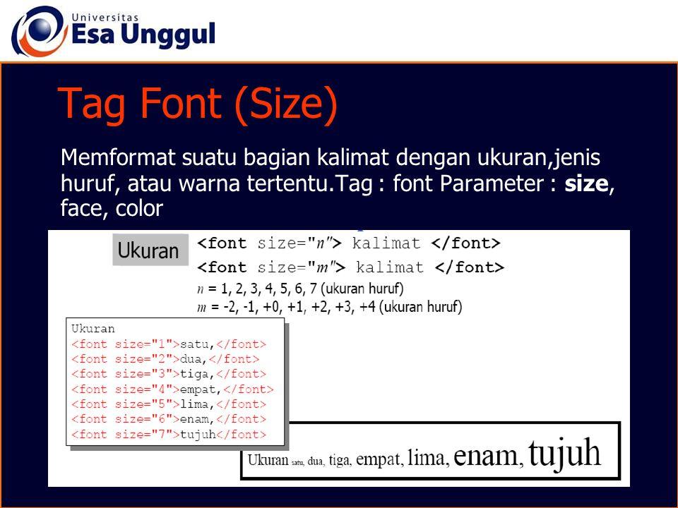 Tag Font (Size) Memformat suatu bagian kalimat dengan ukuran,jenis huruf, atau warna tertentu.Tag : font Parameter : size, face, color.