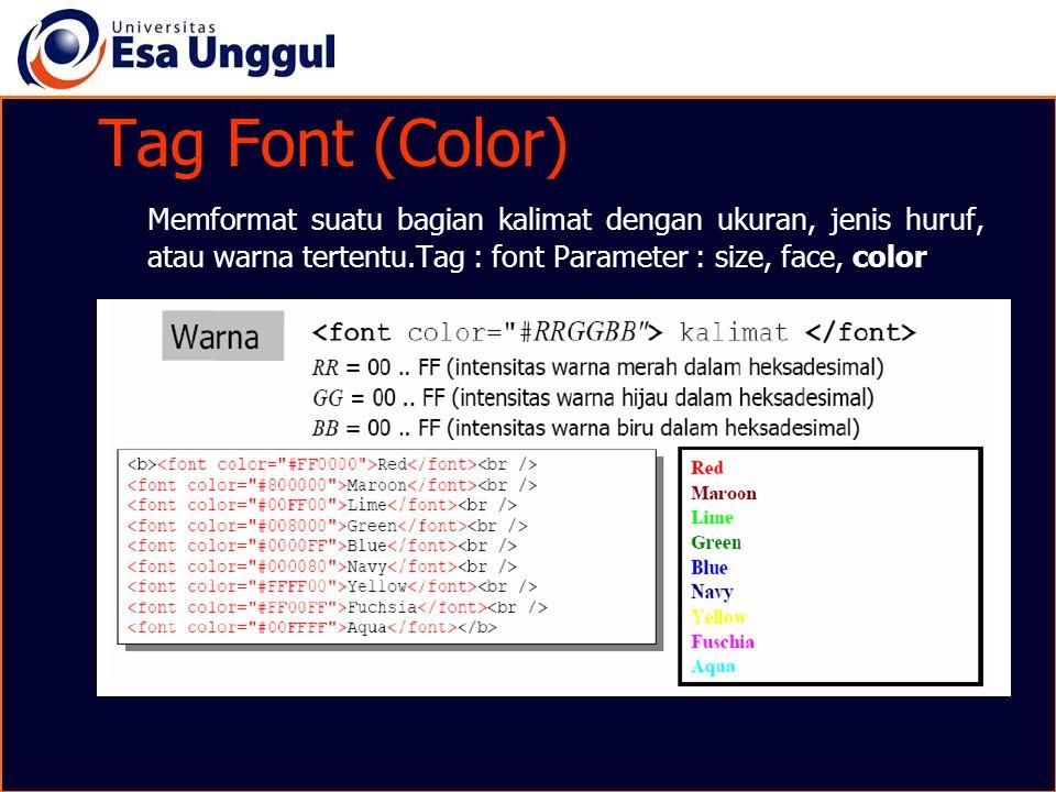 Tag Font (Color) Memformat suatu bagian kalimat dengan ukuran, jenis huruf, atau warna tertentu.Tag : font Parameter : size, face, color.