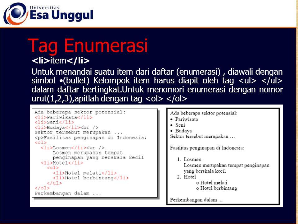 Tag Enumerasi <li>item</li>