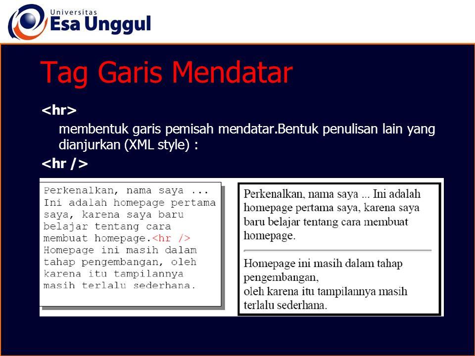 Tag Garis Mendatar <hr>