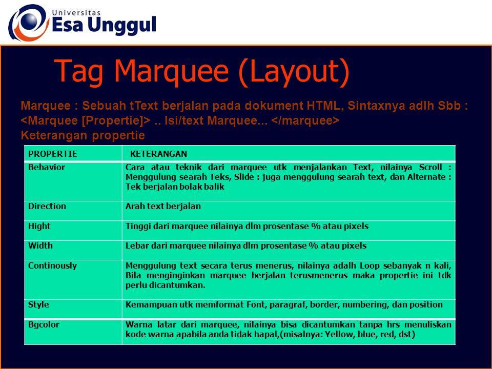 Tag Marquee (Layout) Marquee : Sebuah tText berjalan pada dokument HTML, Sintaxnya adlh Sbb :