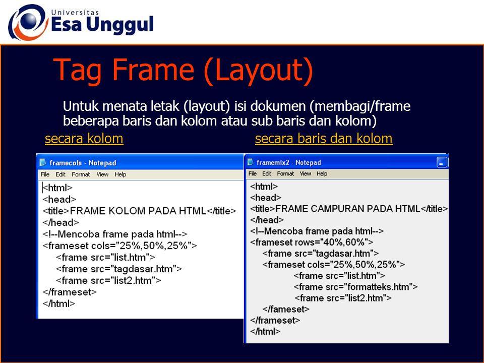 Tag Frame (Layout) Untuk menata letak (layout) isi dokumen (membagi/frame beberapa baris dan kolom atau sub baris dan kolom)