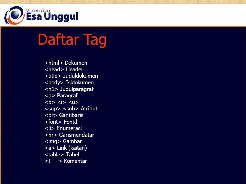 Daftar Tag Daftar Tag <html> Dokumen <head> Header