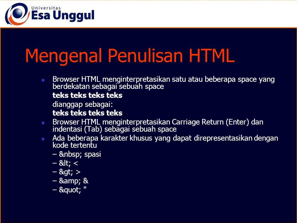 Mengenal Penulisan HTML
