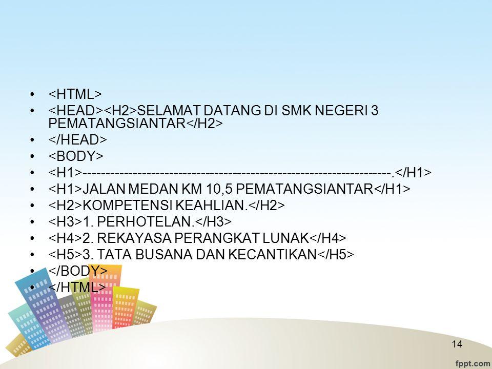 <HTML> <HEAD><H2>SELAMAT DATANG DI SMK NEGERI 3 PEMATANGSIANTAR</H2> </HEAD> <BODY>