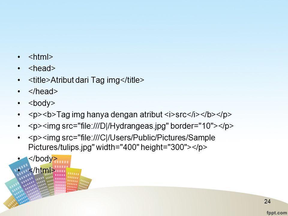 <html> <head> <title>Atribut dari Tag img</title> </head> <body> <p><b>Tag img hanya dengan atribut <i>src</i></b></p>