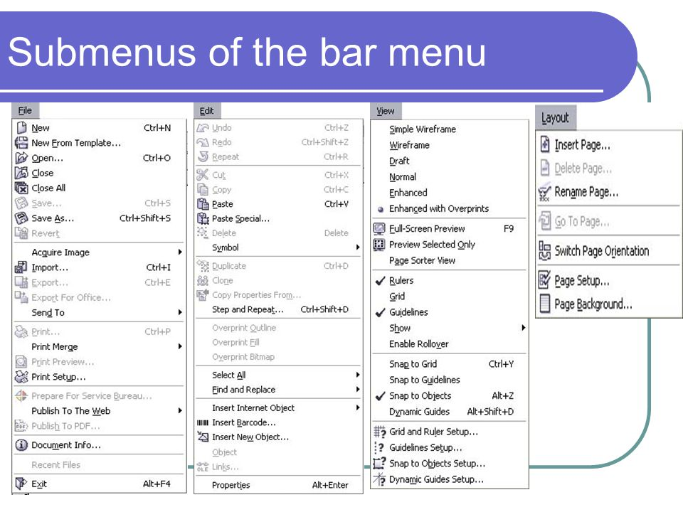 Submenus of the bar menu