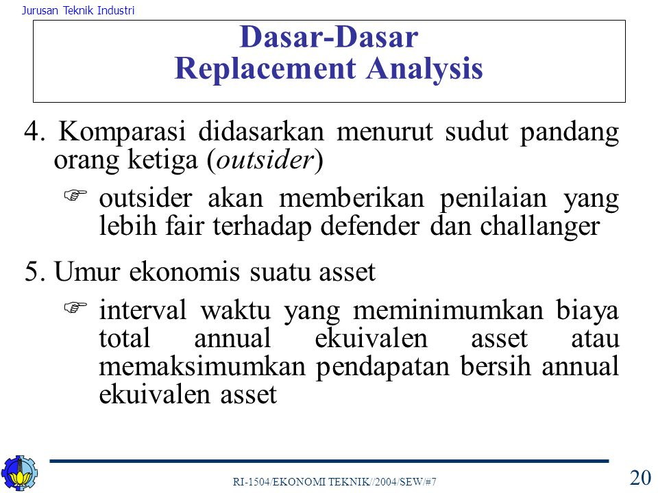 Dasar-Dasar Replacement Analysis